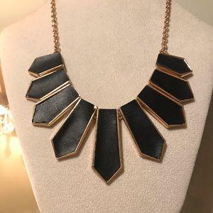Unique Black Fake leather statement necklace